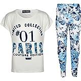 Kids Girls Floral Print Trendy Top & Stylish Fashion Legging Set Age 7-13 Years
