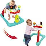 Kolcraft Tiny Steps 2-in-1 Activity Walker -Seated or Walk-Behind Position, Easy to Fold, Adjustable Seat Height, Fun Toys &