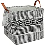 FANKANG Square Storage Bins Nursery Hamper Canvas Laundry Basket Foldable with Waterproof PE Coating Large Storage Baskets Gi