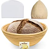 9 Inch Bread Banneton Proofing Basket - Baking Bowl Dough Gifts for Bakers Proving Baskets for Sourdough Lame Bread Slashing