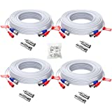ZOSI 4 Pack 60ft / 18 Meters 2-in-1 Video Power CCTV Cable, bnc RCA seucrity Extend Cord for Home Security Surveillance Camer