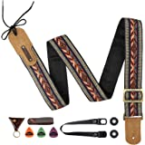 M33 Guitar Strap Vintage Woven Collection Strap Set For Acoustic, Bass and Electric Guitars Includes Strap Button + Locks +Pi