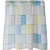 Sunny day fabric カフェカーテン ラッシュ 幅100cm x 丈70cm (グリーンパターン)