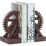 MyGift Industrial Gear-Shaped Bronze-Tone Metal Bookends, 1 Pair