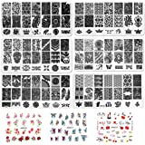 7pcs Nail Stamping Kit Flower Butterfly Image Plate Stamper Template Nail Art Decoration Manicure Tools