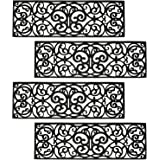 """Hedume 4 Pack Rubber Stair Mats, Non Slip Stair Treads Mat, Rubber Scroll Doormat for Outdoor, Indoor, Entrance, Stairs (29"""""""