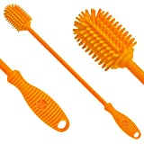 """Silicone Bottle Cleaning Brush - 12.5"""" Water Bottle Cleaner for Your Hydroflask, Sports Bottle, Vase, and Glassware - Best An"""