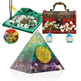 Healing Crystals Orgone Pyramid, Energy Generator Pyramid Set with Pendant Necklace Quartz Tree for Meditation/Wicca/Spiritua