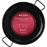 Machika Enameled Steel Skillet, Non Stick Paella Pan, Perfect for Camping and Outdoor Cooking, Rust Proof Coating 13 inch (34