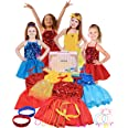 Click N' Play 25Piece Princess Dress Up Trunk Set with 4 Assorted Colorful Dress Up Set, Jewelry, Necklaces, Rings, Bracelets
