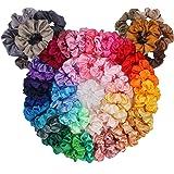 Hair Scrunchies Satin Scrunchies Silky Hair Accessories, Ponytail Makers for Braids, 60 Pack Headbands BeeVines Elastics Bobb
