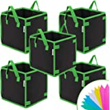 VIVOSUN 5 Pack 5 Gallon Square Grow Bags, Thick Fabric Bags with Handles for Indoor and Outdoor Garden