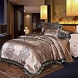 エレガントなヨーロッパのペイズリーダマスクデザインファブリックジャガード織り布団カバー3ピースキルトカバー寝具セット (シャンパンの金, セミダブル・170X210cm)