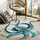 FAMILYDECOR Round Area Rugs for Living Room 4' in Diameter Nautical Theme Ocean Blue Octopus Carpet Mats Extra Soft Anti Skid