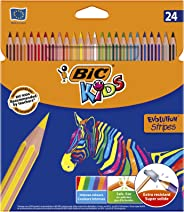 BIC Kids Evolution Stripes Colouring Pencils - Assorted Colours, Pack of 24