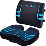 Coccyx Seat Cushion and Lumbar Support Pillow for Office Desk Chair Memory Foam Car Seat Cushion & Orthopedic Back Pillow for