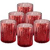 "Ella Celebration Set of 6 Mercury Glass Votives Large 4"" H, Speckled, Metallic, Tealight Candle Holders Centerpieces for Wedd"