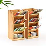 Marbrasse Bamboo Pen Holder for Desk, Multi-Functional Desk Organizer, Pen Organizer for Desk, Desktop Stationery Storage for