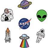 RipDesigns - 7 Space Pins for Backpacks | Enamel Pins for Jackets Cute Pins for Backpacks Planet Pins, Nasa Pin & Astronaut P