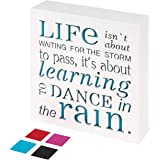 KAUZA Dance in The Rain 5,5 x 5,5in Home Decor Signs, Decorative Signs, Inspirational Plaques