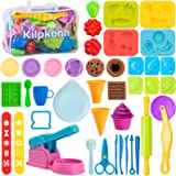 Play Dough Tools for Kids, 44Pcs Playdough Kitchen Creations Set Includes Accessories Molds Scissors Rolling Pin with Storage