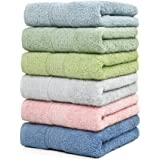 Cleanbear Hand-Towel Face-Towel Set100% Cotton High Absorbent size29x13 6-Pack 6 Colors(h601)