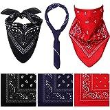 Cooraby 6 Pack Bandanas Paisley Print Headbands Cowboy Handkerchiefs Bandanas Wristband Head Wrap Scarf for Men Women