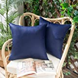 Woaboy Pack of 2 Outdoor Waterproof Throw Pillow Covers Decorative Farmhouse Lumbar Square Solid Cushion Cases for Patio Gard