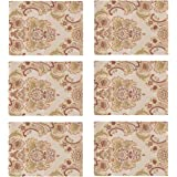 kilofly 6pc Elegant Floral Brocade Jacquard Table Placemats (11.8 x 15.7 in)
