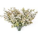 GreenCallow Artificial Eucalyptus Leaves 3 Pcs Faux Indoor Plant (Green Grey Purple) for Home Decor Wedding Party Wall Flower