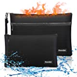 KeeQii Fireproof Money Bag,Two Pockets Waterproof and Fireproof Document Bags, Fireproof Safe Storage Pouch for Documents,Mon