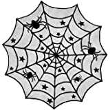 "DII Halloween Lace Table Topper for Halloween Parties, Décor, Dinners, 40"" Dia Round, Black"