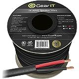 GearIT Pro Series (100 Feet) Oxygen Free Copper UL 14 AWG Gauge CL3 rated OFC Speaker Wire, Black