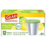Glad Small Kitchen Drawstring Trash Bags – 4 Gallon Green Trash Bag Febreze , Sweet Citron & Lime, 80 Count (Package May Vary