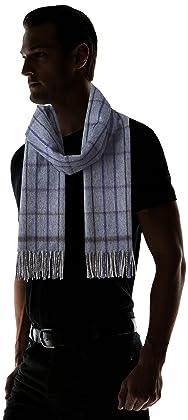 Wool Angora Tattersall Scarf 118-35-0212: Blue