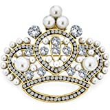 Large Statement Fashion Crystal White Simulated Pearl Wedding Queen Princess Crown Brooch Pin for Women Silver Gold Tone Rhod