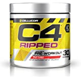 C4 Ripped Pre Workout Powder Fruit Punch - Creatine Free + Sugar Free Preworkout Energy Supplement for Men & Women - 150mg Ca