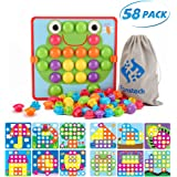 Fansteck Button Art Toy for Toddlers, Color Matching Early Learning Educational Mosaic Pegboard , Safe Nontoxic ABS Plastic P