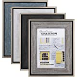 KINLINK Rustic 5x7 Picture Frames - Distressed Farmhouse Frames with Real Glass for Tabletop and Wall Mounting Display, Set o