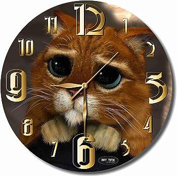Puss In Boots 11.8'' 壁時計(長靴をはいた猫 )あなたの友人のための最高の贈り物。あなたの家のためのオリジナルデザイン