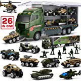 26 in 1 Military Truck with Soldier Men Set, Mini Die-cast Battle Car in Carrier Truck, Army Toy Double Side Transport Vehicl