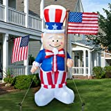 Dazzle Bright 6FT Inflatable Independence Day Decoration, Uncle Sam Holding American Flag for Indoor Outdoor Lawn Yard