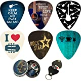 Cool Guitar Picks 12 Pack W/Tin Box & Picks Holder. Celluloid Medium Cool Picks Guitar & Lover. For Acoustic Electric and Bas