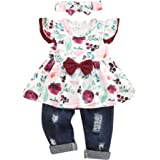 bilison Toddler Baby Girl Clothes Floral Ruffle Sleeve Dress Top+Jeans with Headband Baby Girl Summer Outfits
