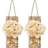 Rustic Mason Jar Sconces for Home Decor Decorative Flower Wall Decor with LED Strip Lights Silk Hydrangea and Wrought Iron Ho