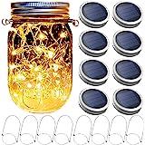 8 Pack Mason Jar Solar Lights(8 Hangers Included) Solar Jar Lights 20 LED Starry String Firefly Lights Mason Jar Lantern Sola