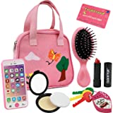 Click N' Play 8Piece Girls Pretend Play Purse, Including A Smartphone, Car Keys, Credit Card, Lipstick, Lights Up & Make Real