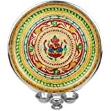 IndoTribe Large 4 Pc Meenakari Pooja Thali Pooja Thali Karva Chauth Set Diwali Decorations Diwali Gifts Indian Decor Decorati