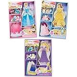 Melissa & Doug Disney Cinderella, Belle, and Rapunzel Magnetic Dress-Up Wooden Dolls Pretend Play Set