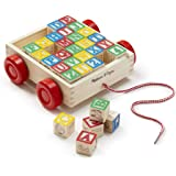 Melissa & Doug 1169 Classic ABC Wooden Block Cart Educational Toy with 30 Solid Wood Blocks